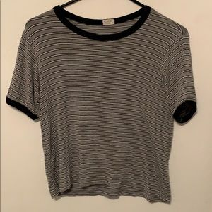 grey t shirt with navy blue/white stripes